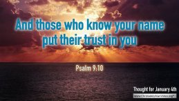 "Daily Readings & Thought for January 4th. ""AND THOSE WHO KNOW ..."""