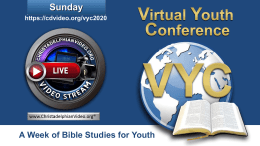 Virtual Youth Conference 2020: Sunday 2nd August