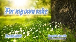 """Daily Readings & Thought for June 19th. """"FOR MY OWN SAKE"""""""