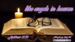 """Daily Readings & Thought for July 21st. """"… LIKE ANGELS IN HEAVEN"""""""