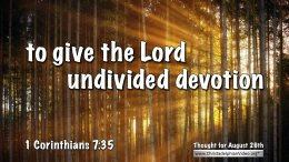 """Daily Readings & Thought for August 26th. """"UNDIVIDED DEVOTION"""""""