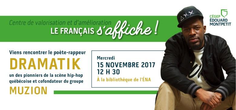 Conférence sur la valorisation du français avec le poète-rappeur Dramatik
