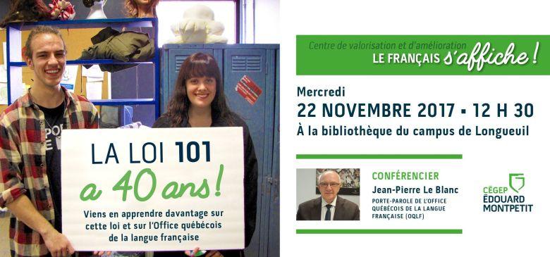 Conférence sur les 40 ans de la Loi 101 à la bibliothèque du campus de Longueuil