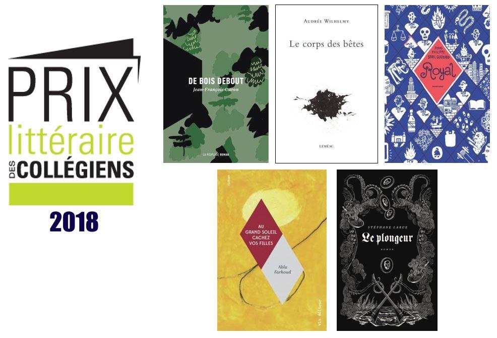 Finalistes du Prix littéraire des collégiens 2018
