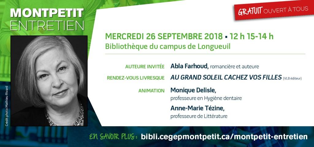 """L'auteure Abla Farhoud au """"Montpetit entretien"""""""