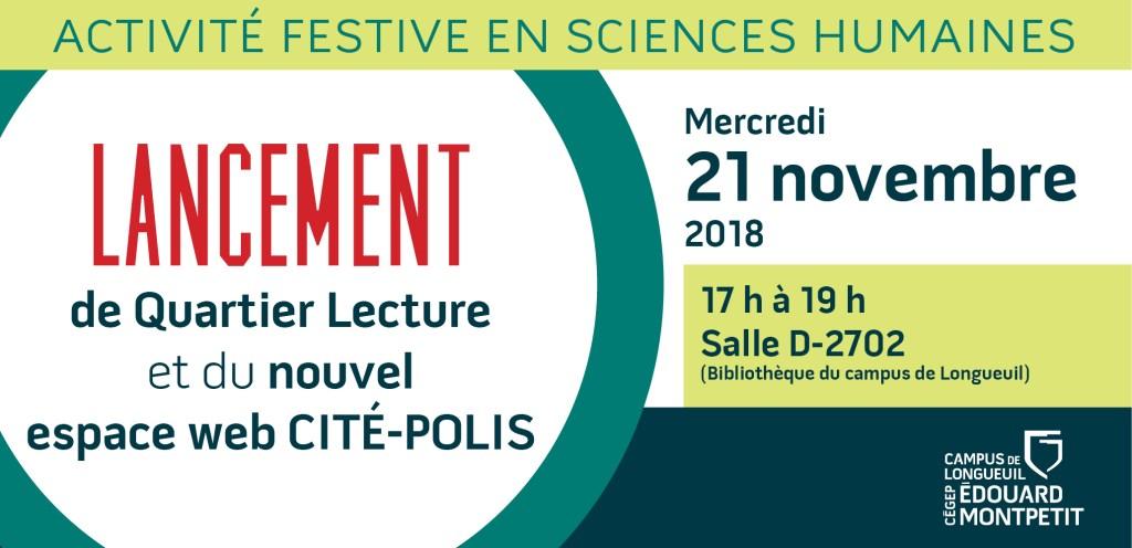 Lancement du Quartier Lecture et de CITÉ-POLIS!