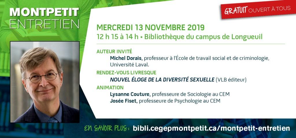 """Michel Dorais est l'invité du prochain """"Montpetit entretien"""""""