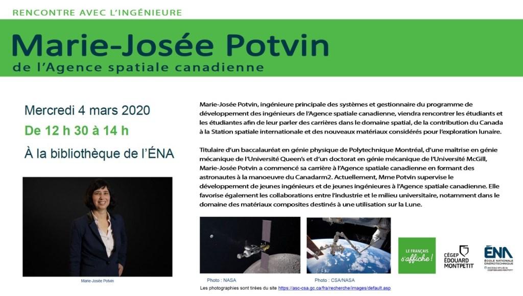 Rencontre avec l'ingénieure Marie-Josée Potvin à l'ÉNA