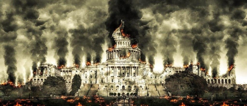 capital da cidade em chamas, destruída.