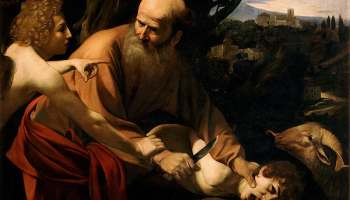 Sacrifice of Isaac by Caravaggio - scan, Public Domain