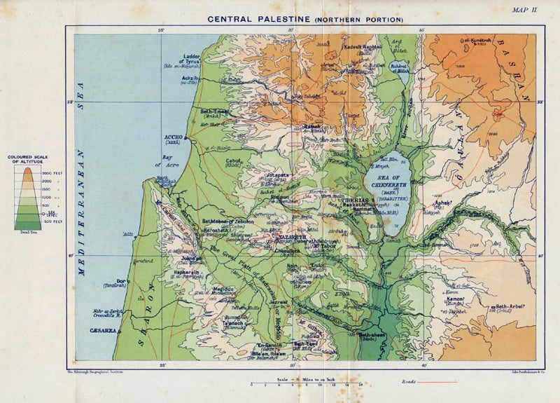 Maop of Central Palestine from C.F> Burney, The Book of Judges