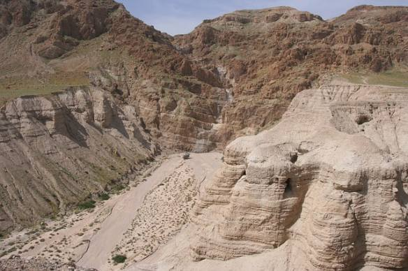 The Caves ner Khirbet Qumran were the Dead Sea Scrolls were discovered