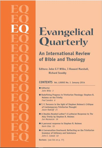 Evangelical Quarterly Volume 86 (2014) front cover