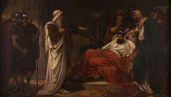 The Prophet Nathan rebukes King David, oil on canvas by Eugène Siberdt, 1866-1931 (Mayfair Gallery, London)