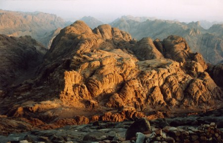 Sunrise at summit of Mount Sinai in Egypt