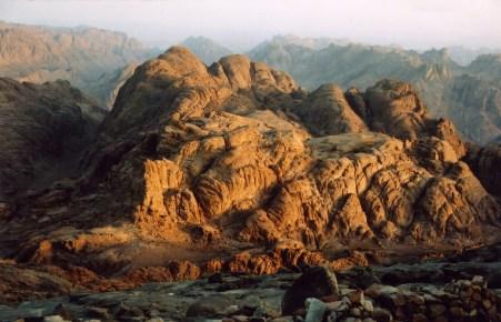 Sunrise at summit of Mount Sinai in Egypt