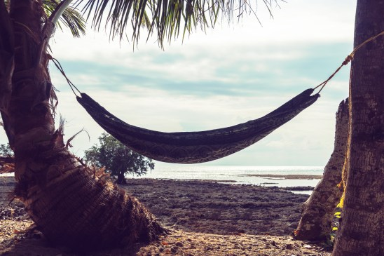 Hammock Between Palm Trees On Beautiful Tropical Beach. Tinted R