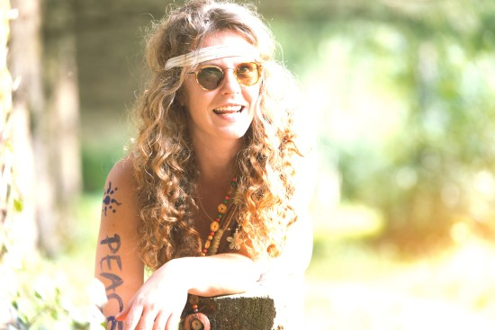 Pretty Free Hippie Girl Smoking On The Grass - Vintage Effect Ph
