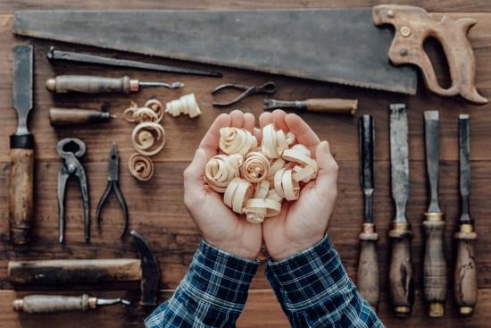 Carpenter Holding Wood Shavings