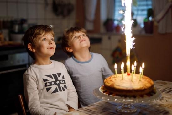 Two Beautiful Kids, Little Preschool Boys Celebrating Birthday A