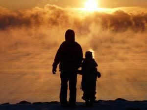 father, son, sunrise