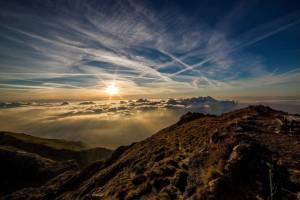 mountains, sun, clouds