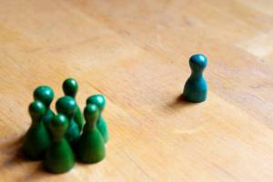 play figures, green, blue