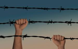 hands, barbed wire, caught