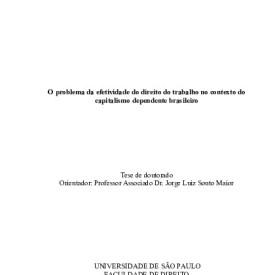 O problema da efetividade do direito do trabalho no contexto do capitalismo dependente brasileiro
