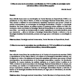 Crítica de uma morte anunciada: contribuições da TMD à análise da estratégia nacional-democrática e democrática-popular