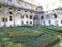 There were four distinct courtyards in the hospital, each with distinct hedgerows or fountains or something that made it unique from the other three.