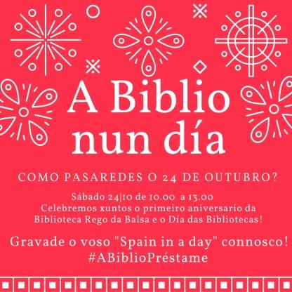 Sábado 24-10 de 10.00 a 13.00 Celebremos xuntos o primeiro aniversario da Biblioteca Rego da Balsa e o Día das Bibliotecas!