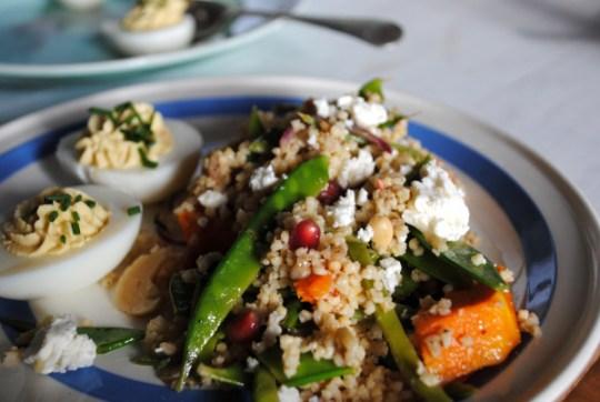 Bibliocook.com - Devilled Eggs with Millet, Roast Veg & Feta Salad