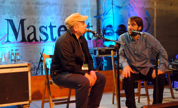 Joe  McNamee talks to René Redzepi during Ravenous: The Cookbook Chronicles at Ballymaloe literary festival