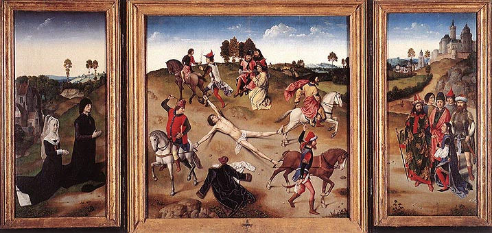 Triptych with the Martyrdom of St. Hippolytus -- Dierck Bouts and Hugo van der Goes