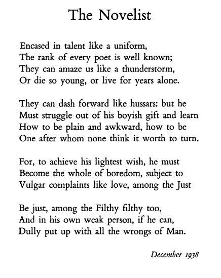 """The Novelist"" — W H Auden – Biblioklept"