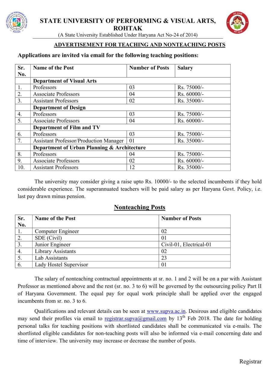 Advertisement for teaching and non teaching posts. Last date to apply is 13th Feb 2018-01.jpg