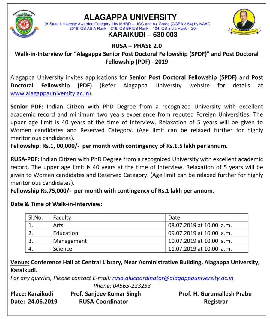 """Walk-in-Interview for """"Alagappa Senior Post Doctoral"""