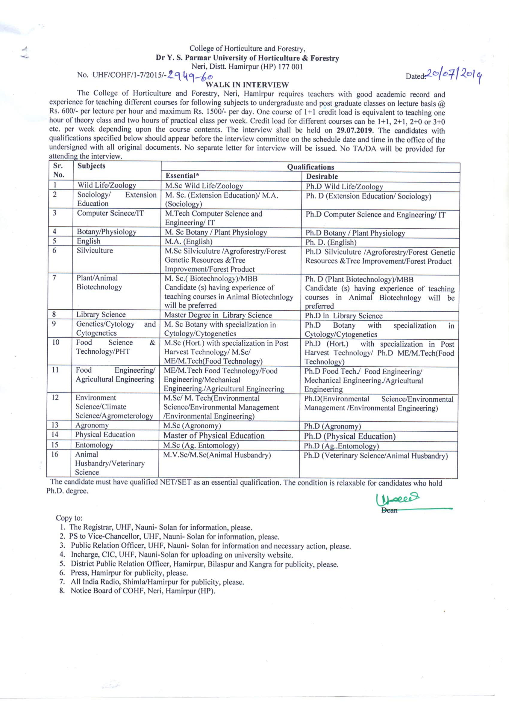 Walk-In-Interview for Teacher Post at College of