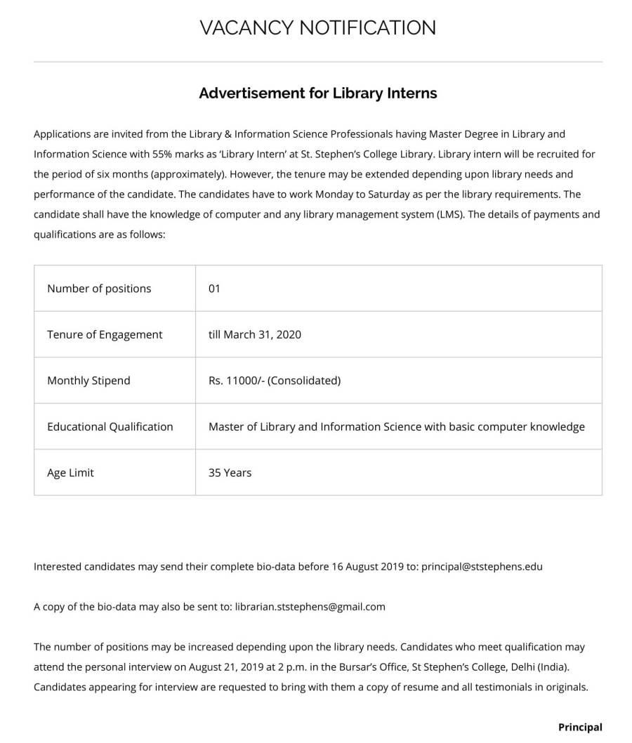VACANCY NOTIFICATION – LIBRARY INTERN – St. Stephen's College, Delhi-1.jpg