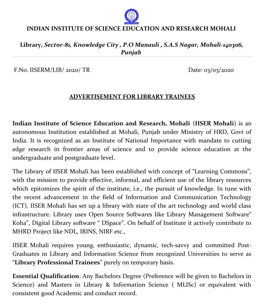 Advt for Library Trainees-1