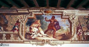 Sala ariostesca-Orlando che insegue Angelica mentre sopraggiunge Medoro