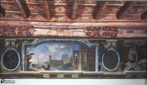 Sala di Ercole-Capriccio paesaggistico-Darsena e ovali con Ercole abbatte Idra di Lerna e Ercole abbatte Leone di Nemea