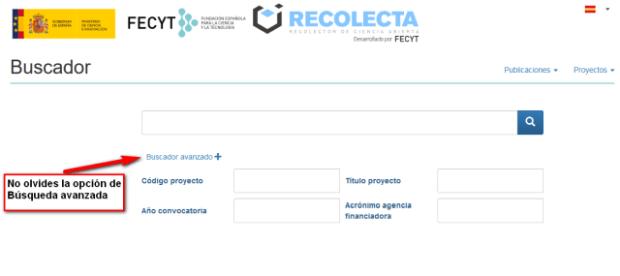 Caja de búsqueda de proyectos en Recolecta