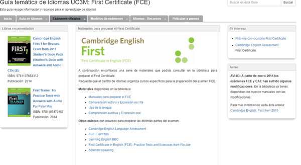 Cambridge English Firts en la Guía temática de idiomas