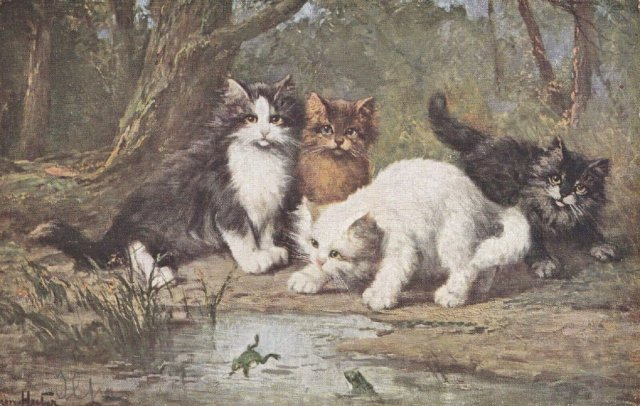 The Victorian Cat- Four Cats Watch Frogs Jump in Pool