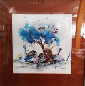 """Aquarelle """"L'arbre bleu"""""""