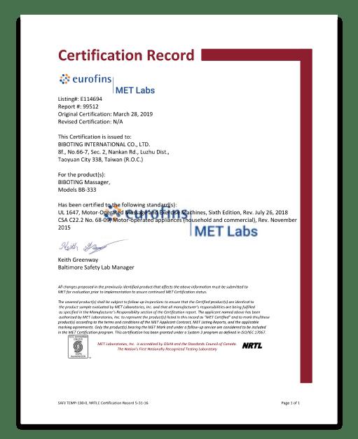 Certification MET