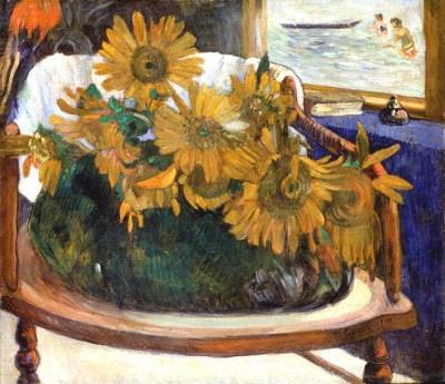 Paul Gauguin- Still Life with Sunflowers on an Armchair (1901)