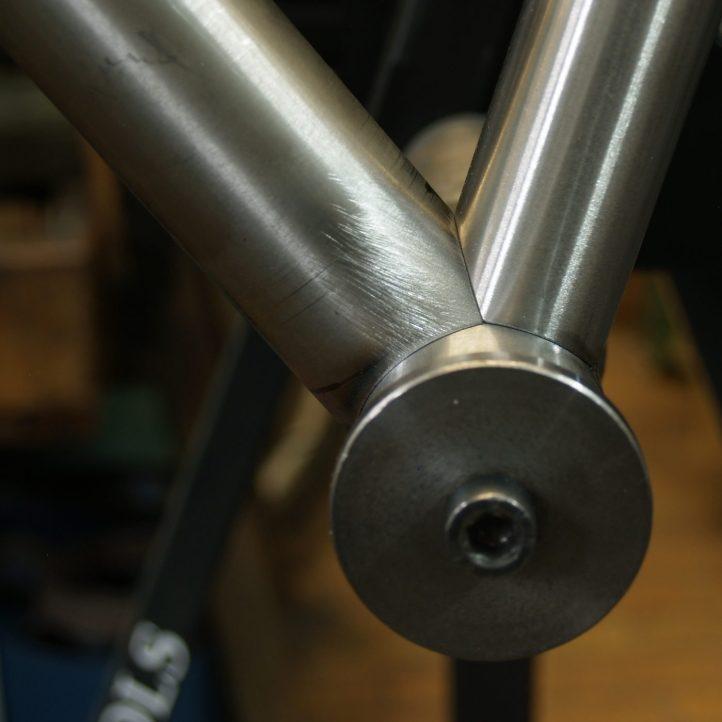 bottom bracket mitering for custom handmade bicycle frame